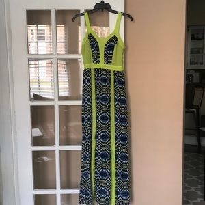 Blue and Neon Green Graphic Print Maxi
